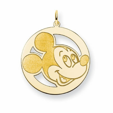 Gold-plated Disney Mickey Mouse Silhouette Circle Charm