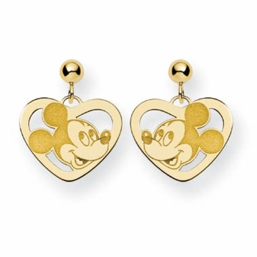 Gold-plated Disney Mickey Mouse Silhouette Heart Post Dangle Earrings