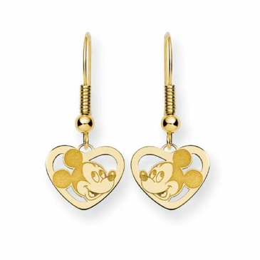 Gold-plated Disney Mickey Mouse Silhouette Heart Wire Dangle Earrings