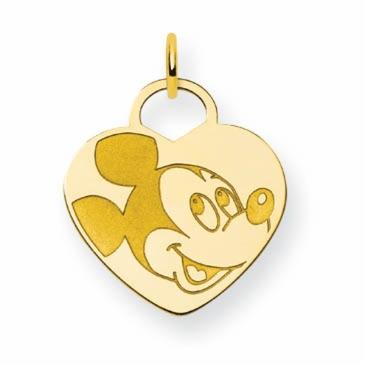 Gold-plated Disney Mickey Mouse Solid Heart Charm