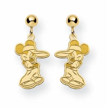 Gold-plated Disney Mickey Mouse with Visor Post Dangle Earrings