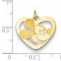 Gold-plated Disney Small Mickey Mouse Silhouette Heart Charm - click to Enlarge