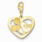 Gold-plated Disney Small Mickey Mouse Silhouette Heart Charm with Lobster Clasp