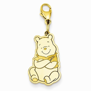 Gold-plated Disney Small Winnie the Pooh Charm with Lobster Clasp