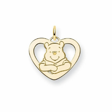 Gold-plated Disney Small Winnie the Pooh Silhouette Heart Charm