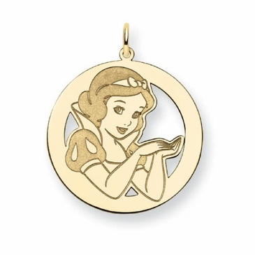 Gold-plated Disney Snow White Silhouette Circle Charm