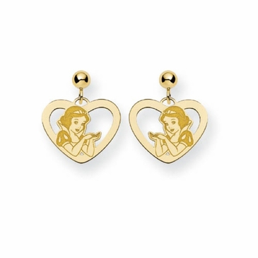 Gold-plated Disney Snow White Silhouette Heart Post Dangle Earrings