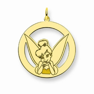 Gold-plated Disney Tinker Bell Portrait Silhouette Circle Charm