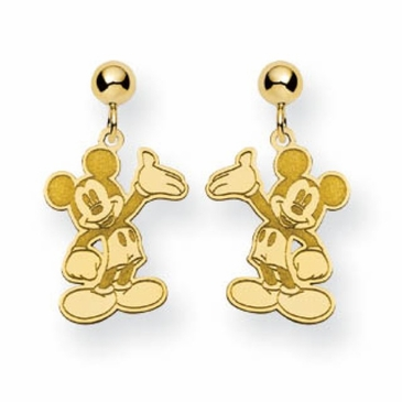 Gold-plated Disney Waving Mickey Mouse Post Dangle Earrings