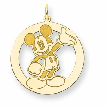 Gold-plated Disney Waving Mickey Mouse Silhouette Circle Charm