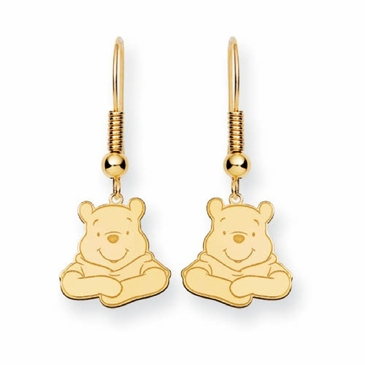 Gold-plated Disney Winnie the Pooh Portrait Wire Dangle Earrings