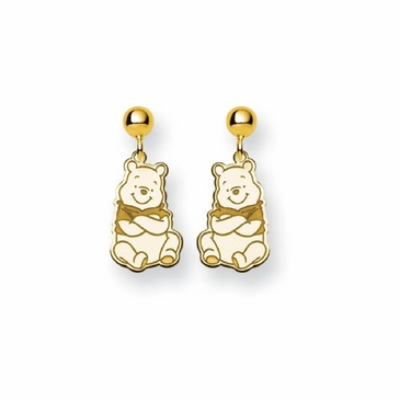 Gold-plated Disney Winnie the Pooh Post Dangle Earrings