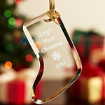 Gold Ribbon Glass Ornament - Personalized