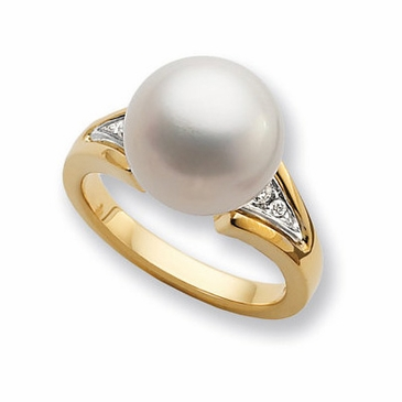 Golden Wish Pearl and Diamond Ring