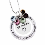 Grandma Birthstone Necklace with Family Names