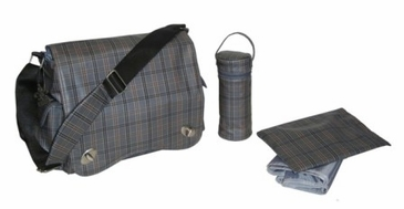 Gray Plaid - Sam's Messenger Diaper Bag by Kalencom