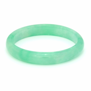 Green Jade Bangle Bracelet with Flat Interior