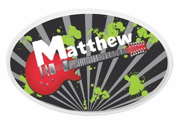 Guitar Oval Wall Plaque Personalized