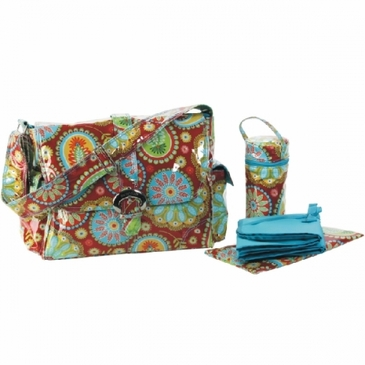Gypsy Paisley Red Laminated Buckle Diaper Bag by Kalencom