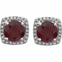 Halo-Effect Diamond and Gemstone Studded Earrings - click to Enlarge