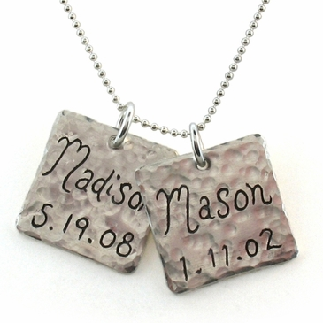 Hammered Square Name Charm Necklace