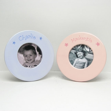 Hand Painted Round Picture Frame - Solid
