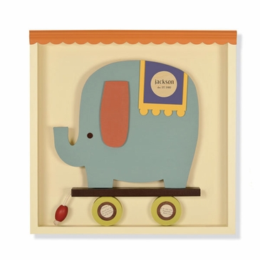 Handmade Blue Elephant Pull-Toy Wooden Wall Art - Personalized