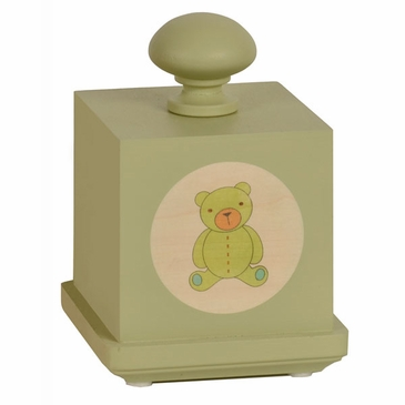 Handmade Hush Little Baby Wooden Music Box - Green Bear