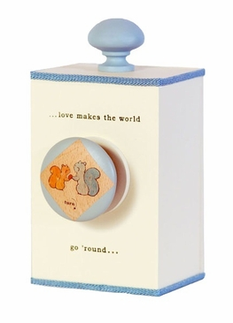 "Handmade ""Love Makes the World Go 'Round"" Lullaby Wooden Music Box - Blue"