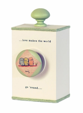 "Handmade ""Love Makes the World Go 'Round"" Lullaby Wooden Music Box - Green"