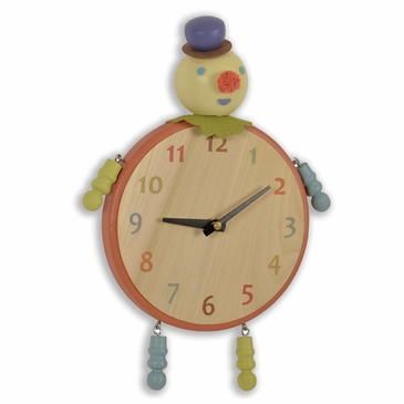 Handmade Wooden Animal Clock - Clown