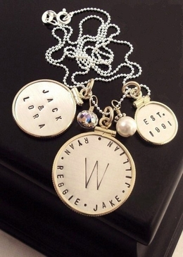 Happy Family Framed Charm Necklace