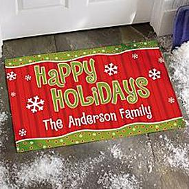Happy Holidays Doormat - Personalized