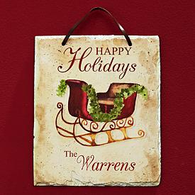 Happy Holidays Family Plaque - Personalized