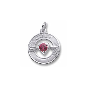 Heart and Arrow Charm with July Birthstone by Forever Charms - Personalized