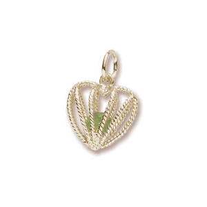 Heart Caged August Birthstone Charm by Forever Charms