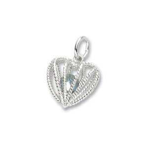 Heart Caged March Birthstone Charm by Forever Charms