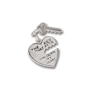 Heart & Key Charm by Forever Charms - Personalized
