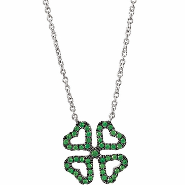 Heart Shape Clover Pendant with Link Chain