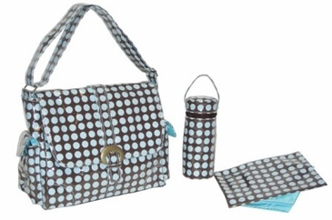 Heavenly Dots Chocolate Blue - Laminated Buckle Diaper Bag by Kalencom