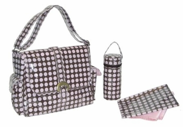 Heavenly Dots Chocolate Pink - Laminated Buckle Diaper Bag by Kalencom