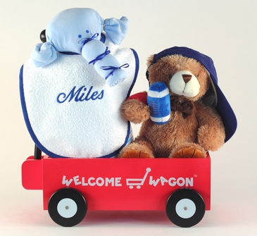 """""""Hello World!"""" Sports Baby Gift Basket  (Personalized)"""