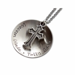 Hip Mommy Curved Charm with Cross Necklace
