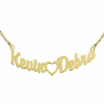 His and Her Heart Name Necklace