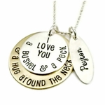 """I Love You A Bushel and A Peck and A Hug Around The Neck Necklace"" with Childrens' Names"