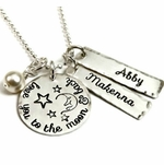 """I Love You To the Moon & Back"" Necklace with Your Children's Names"