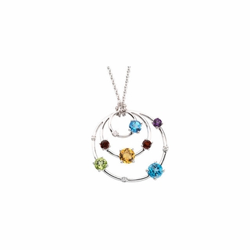 Intricate Diamond Pendant with Multicolored Stones