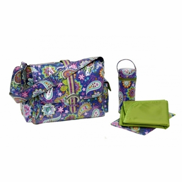 Kalencom Laminated Buckle Diaper Bag - Cobalt Paisley