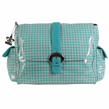 Kalencom Laminated Buckle Diaper Bag - Houndstooth - Aqua
