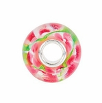 Kera™ Pink and Green Flower Glass Bead